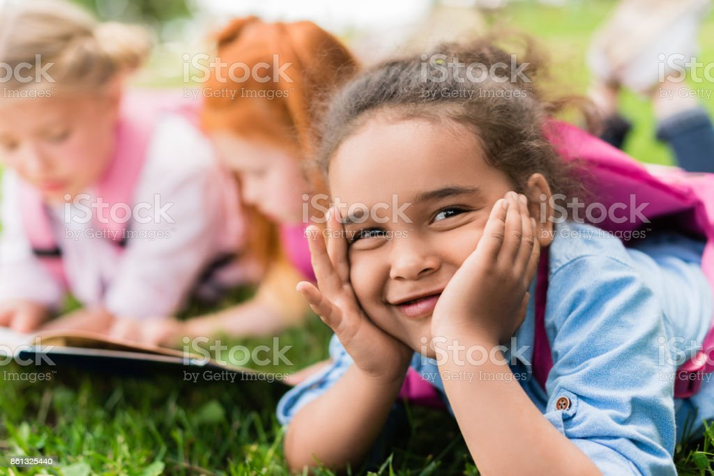 smiling african american child stock photo