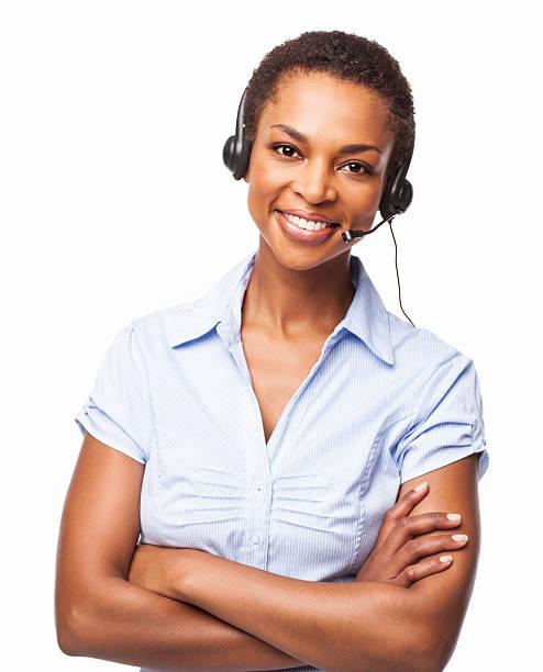 Lächeln afroamerikanische Frauen Helpdesk Operator-isoliert – Foto
