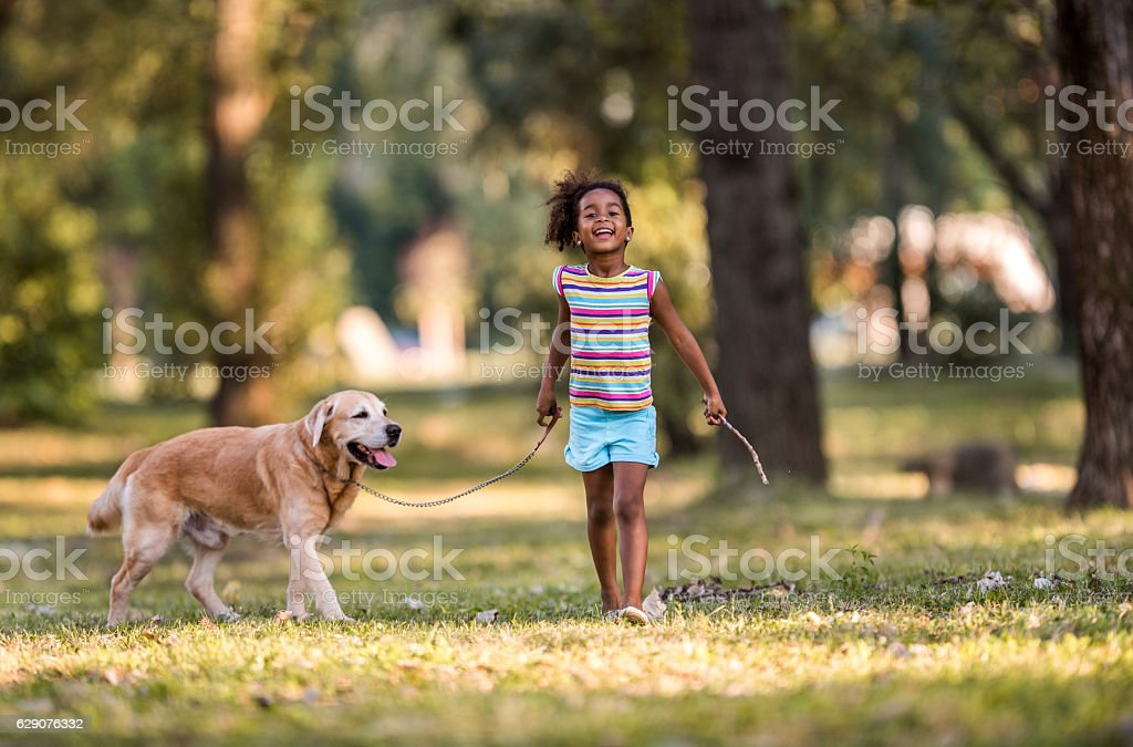 Smiling African American girl walking her dog on a leash. stock photo
