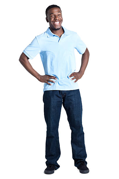 Smiling african american man standing stock photo