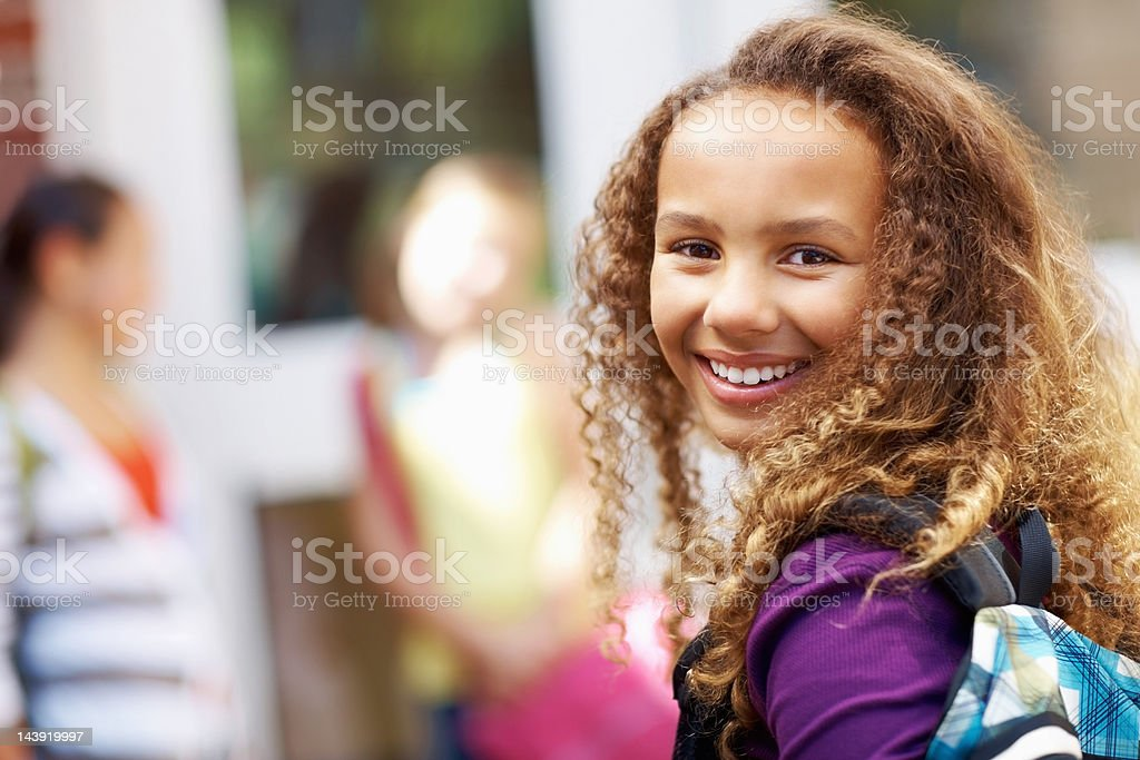 Smiling African American school girl royalty-free stock photo