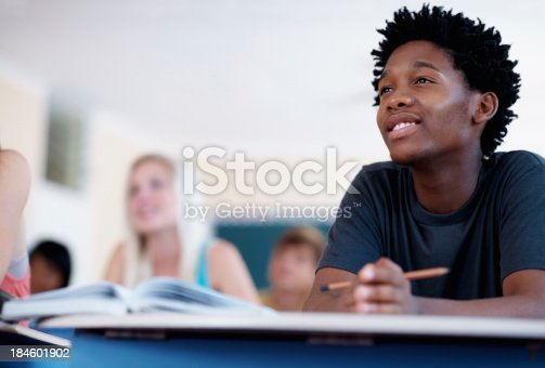 istock Smiling African American student 184601902