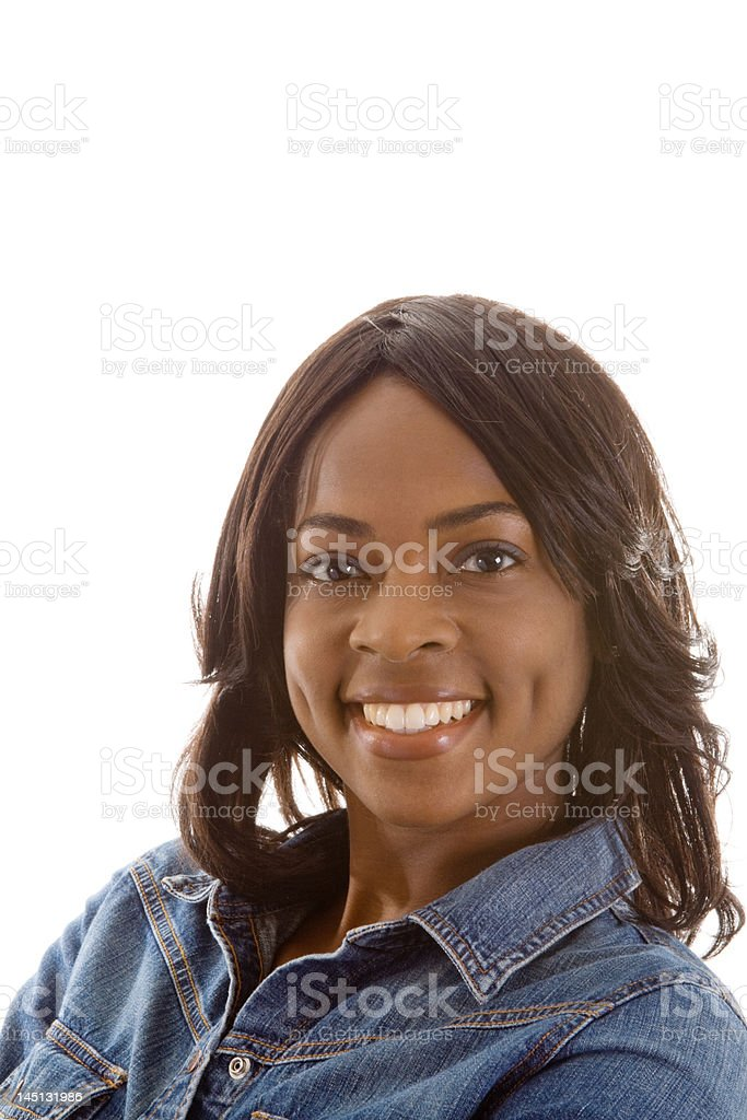 Smiling African American Woman Isolated on White Background stock photo