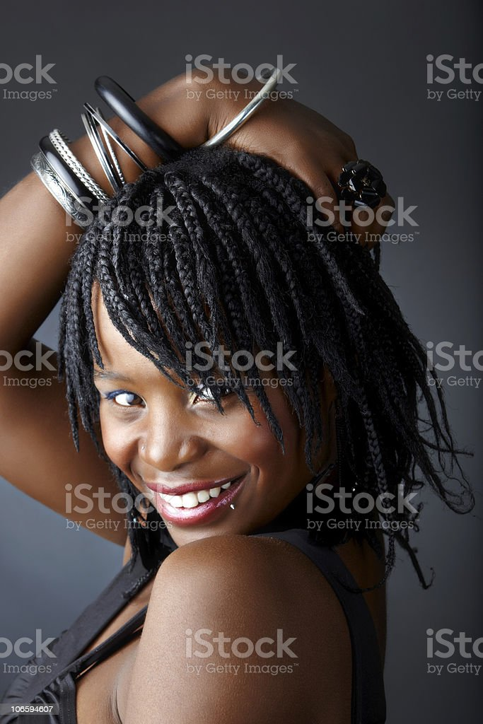 smiling African woman royalty-free stock photo