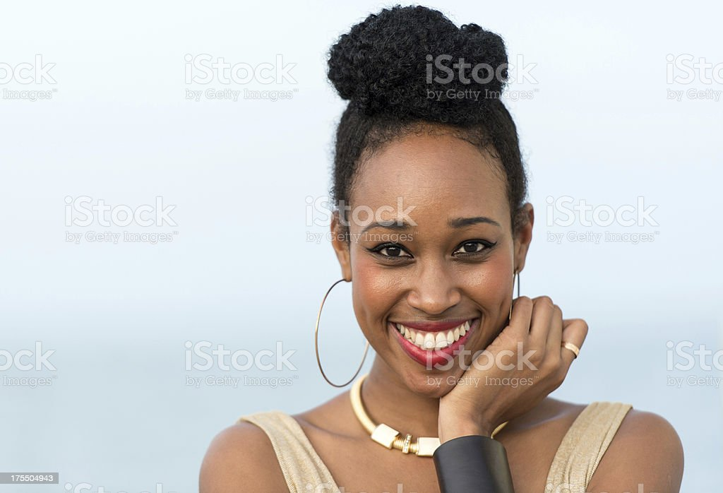 Smiling african woman stock photo
