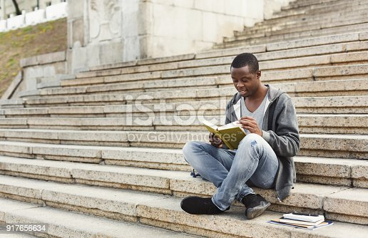 istock Smiling african-american student reading book on university stairs 917656634