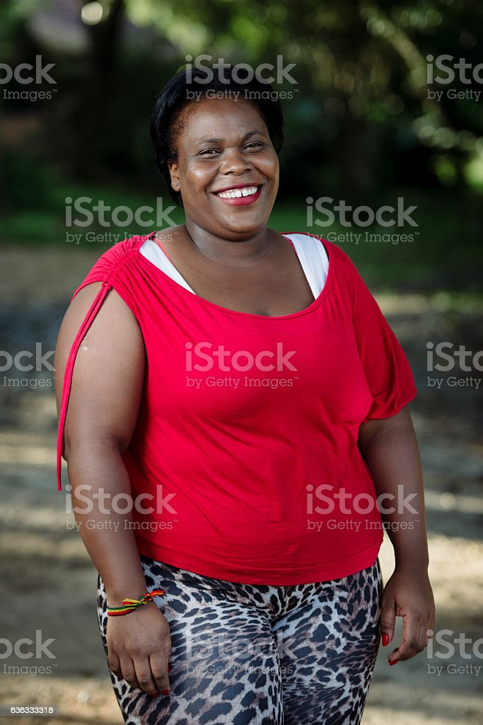 Smiling Afro Brazilian Woman Red Clouth Stock Photo