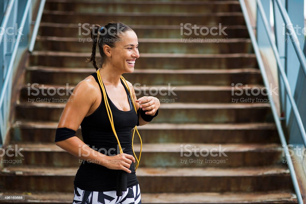 Smiling after workout stock photo