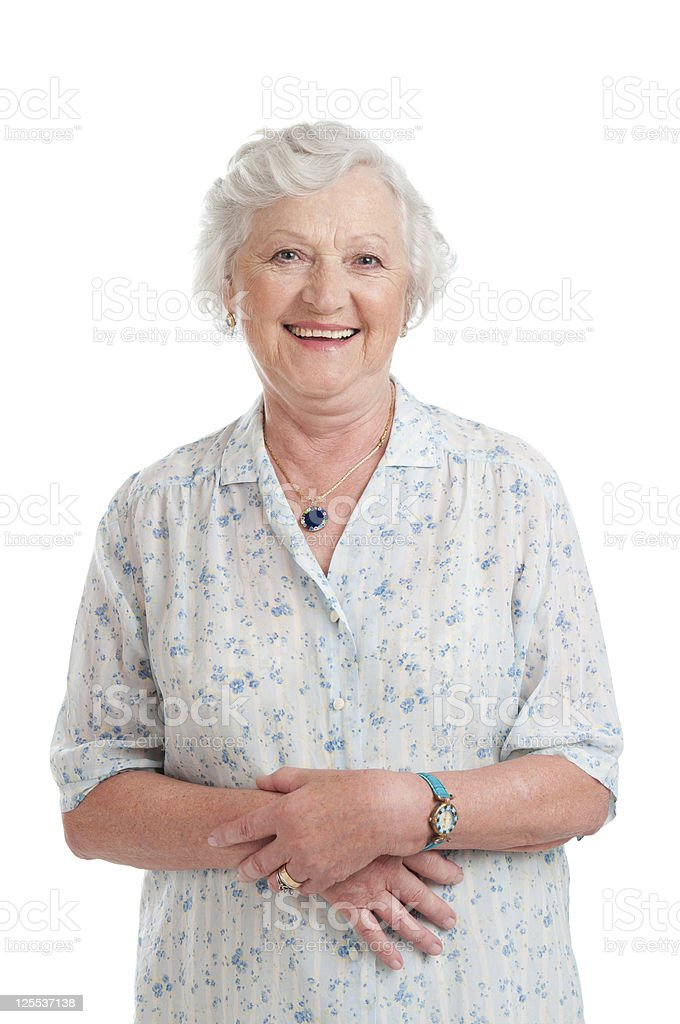 Smiling aged senior lady stock photo