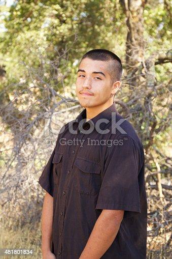 istock Smiling American Indian Teenage Boy Portrait 481801834