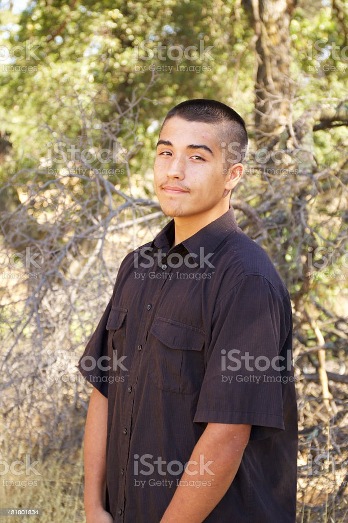 Smiling American Indian Teenage Boy Portrait stock photo