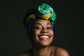 Black woman, turban, Brazilian flag, young woman, love for Patria, Brazilian people, one woman