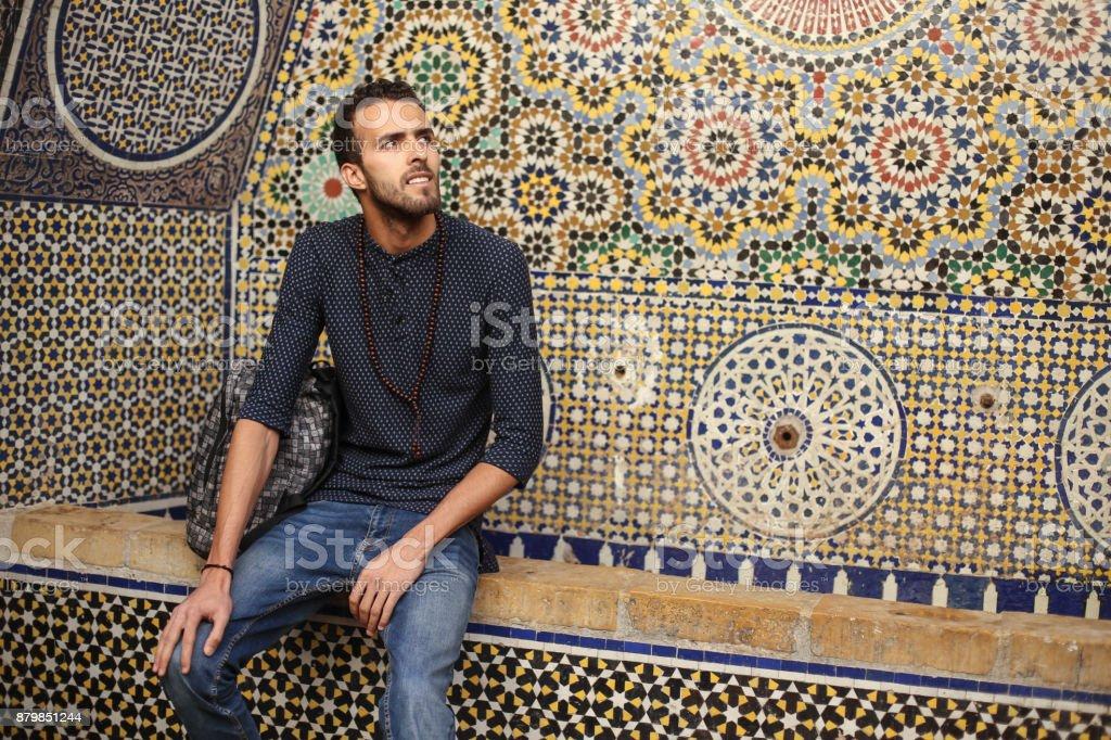 Smiling Arab man stock photo