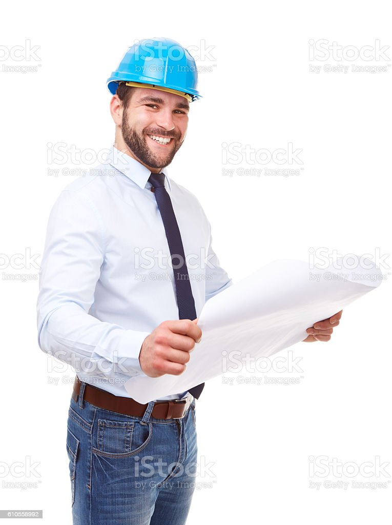 Smiling architect with plan stock photo