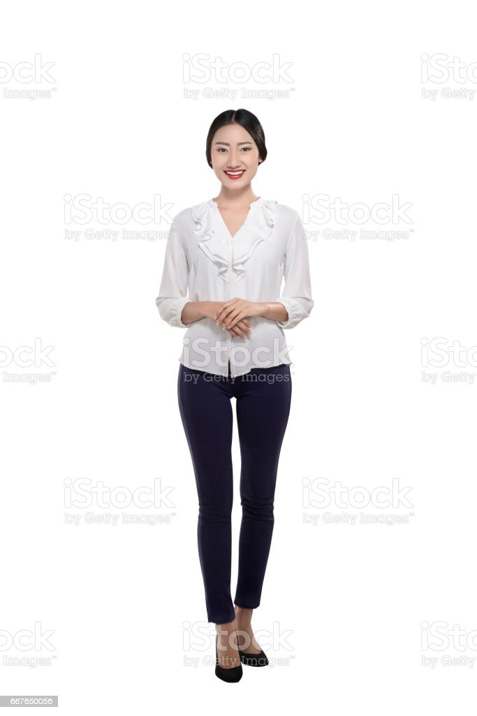 Smiling asian business woman with confident expression stock photo
