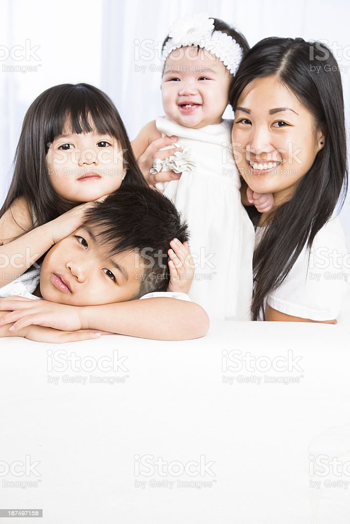 Smiling asian family portrait royalty-free stock photo