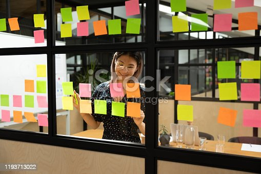 1147760705 istock photo Smiling asian female project manager in eyewear organizing working process. 1193713022