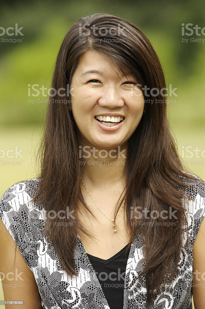 smiling asian headshot stock photo