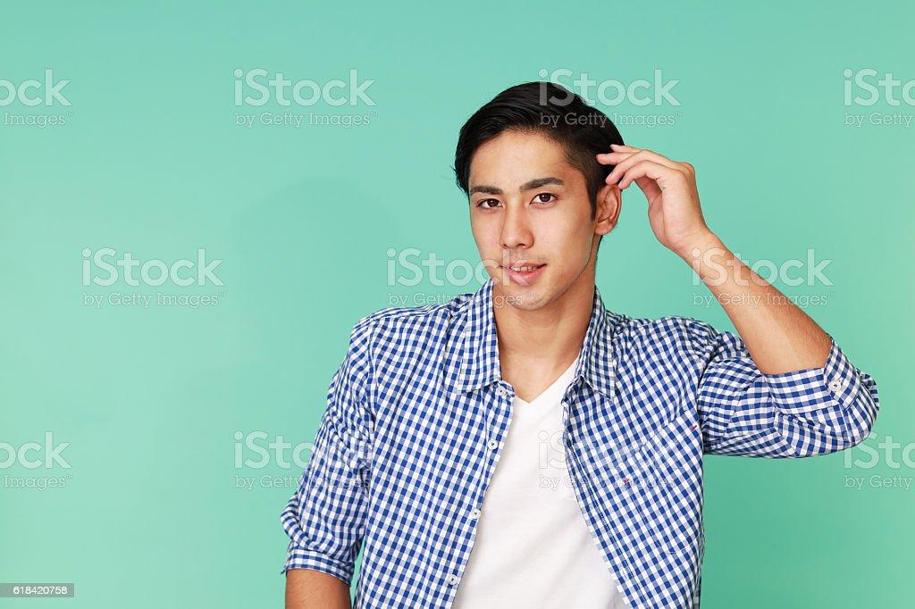 Smiling Asian man stock photo
