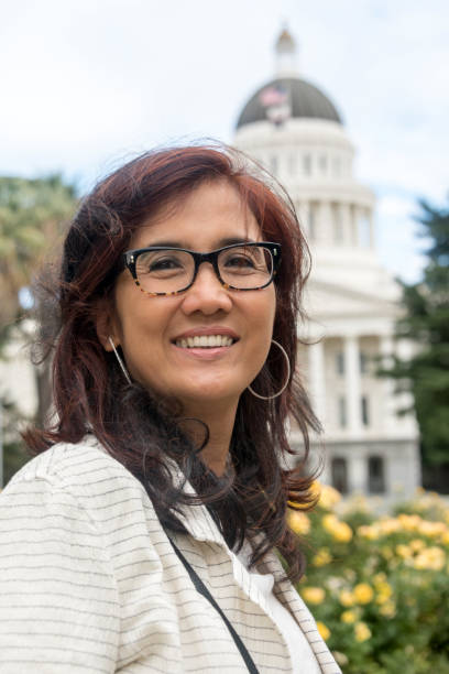 Smiling Asian Mature Female Politician stock photo