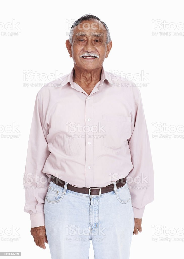 Smiling Asian senior man stock photo