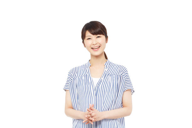 笑顔アジアの女性 - スタジオ 日本人 ストックフォトと画像