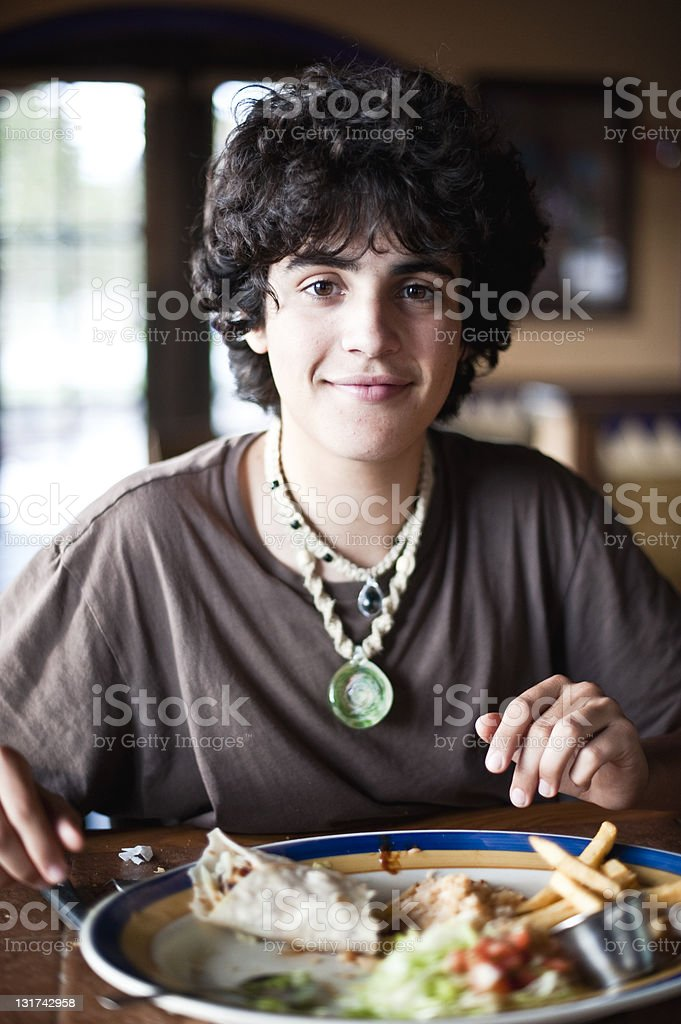 Smiling at the restaurant royalty-free stock photo