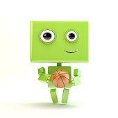 Smiling athletic android
