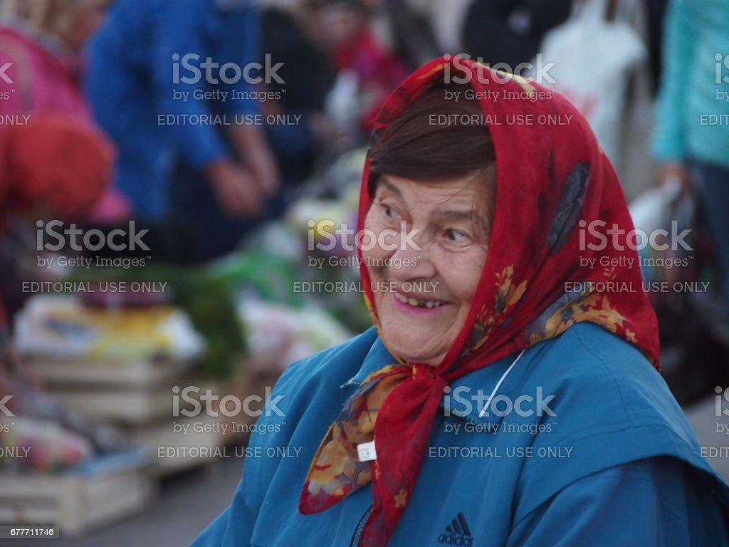 Smiling Babushka in Russia stock photo