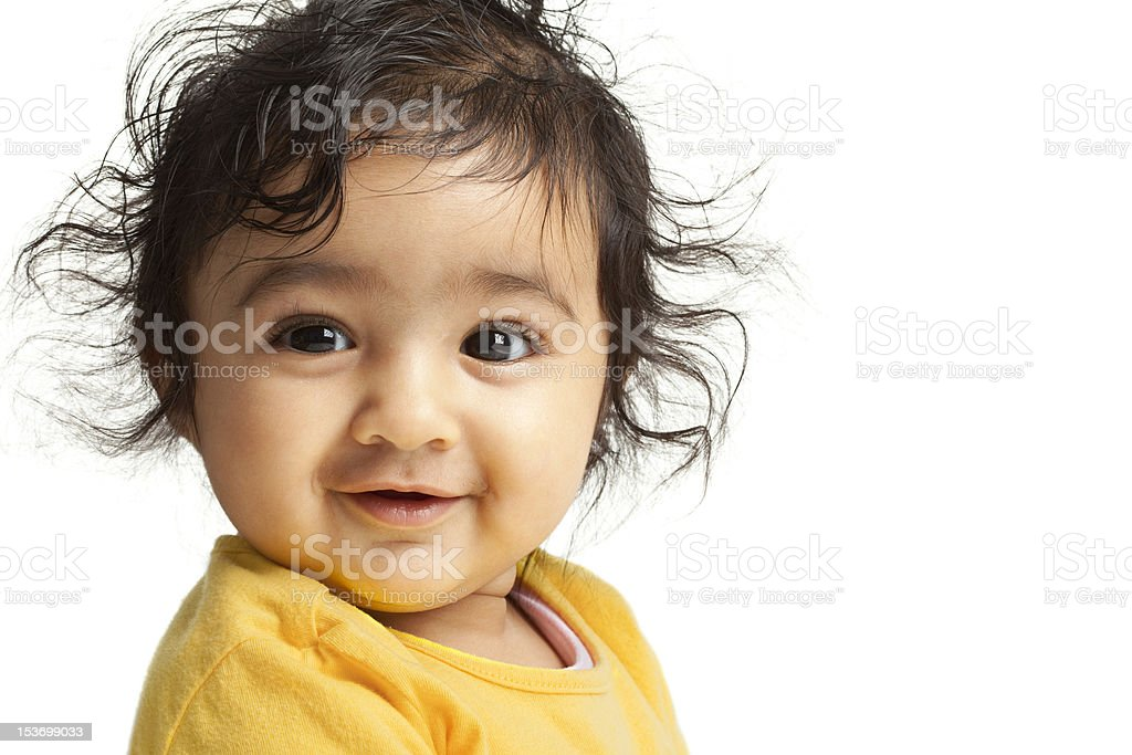Smiling Baby Girl, isolated, White stock photo