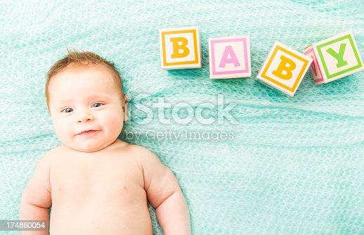 istock Smiling Baby Lying On blanket 174860054