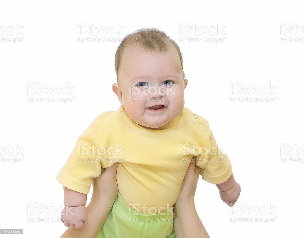 Smiling baby on mother hands royalty-free stock photo