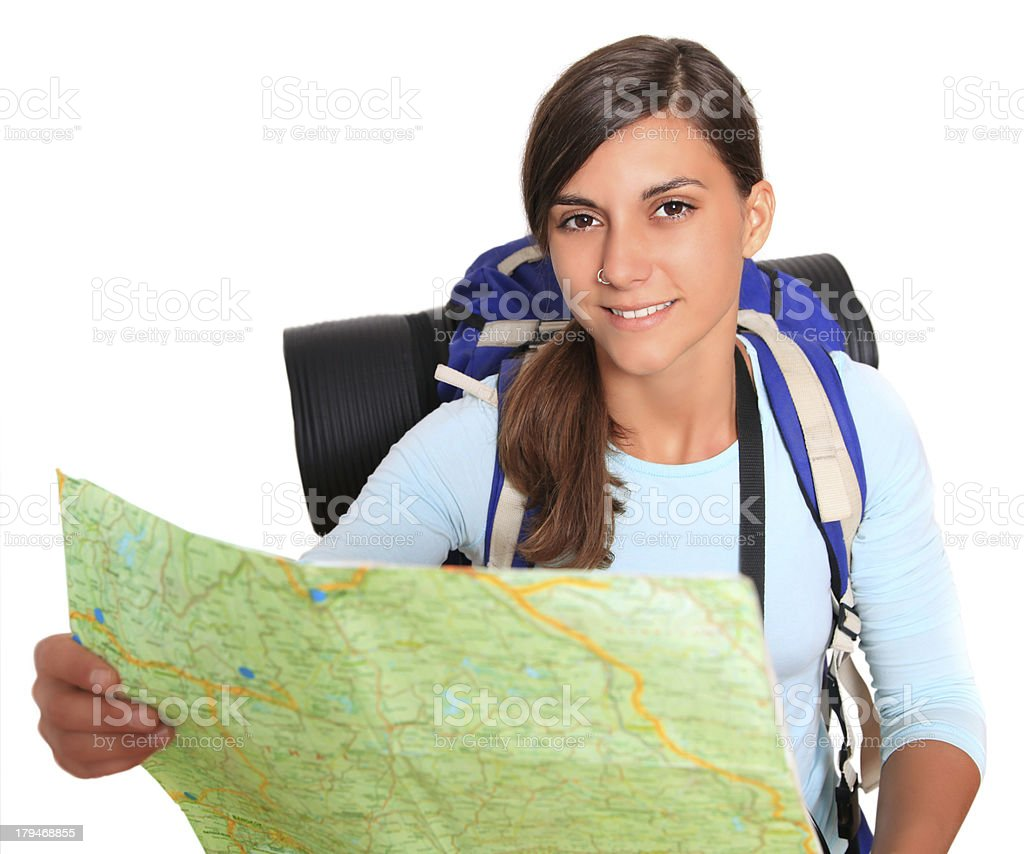 smiling backpacker with map stock photo