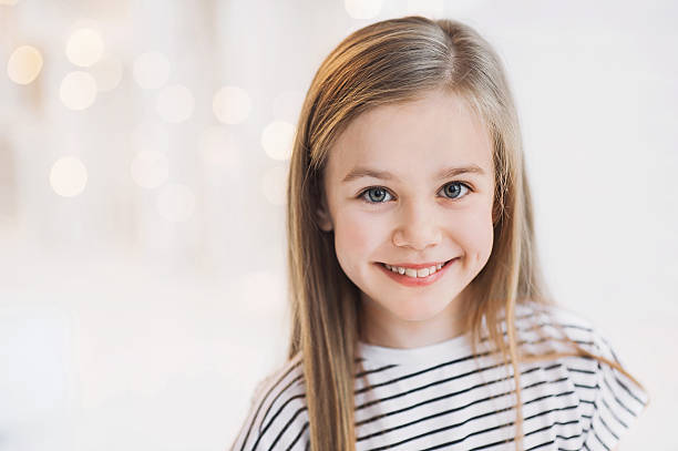 Smiling beautiful girl portrait Funny cute girl at home 8 9 years stock pictures, royalty-free photos & images