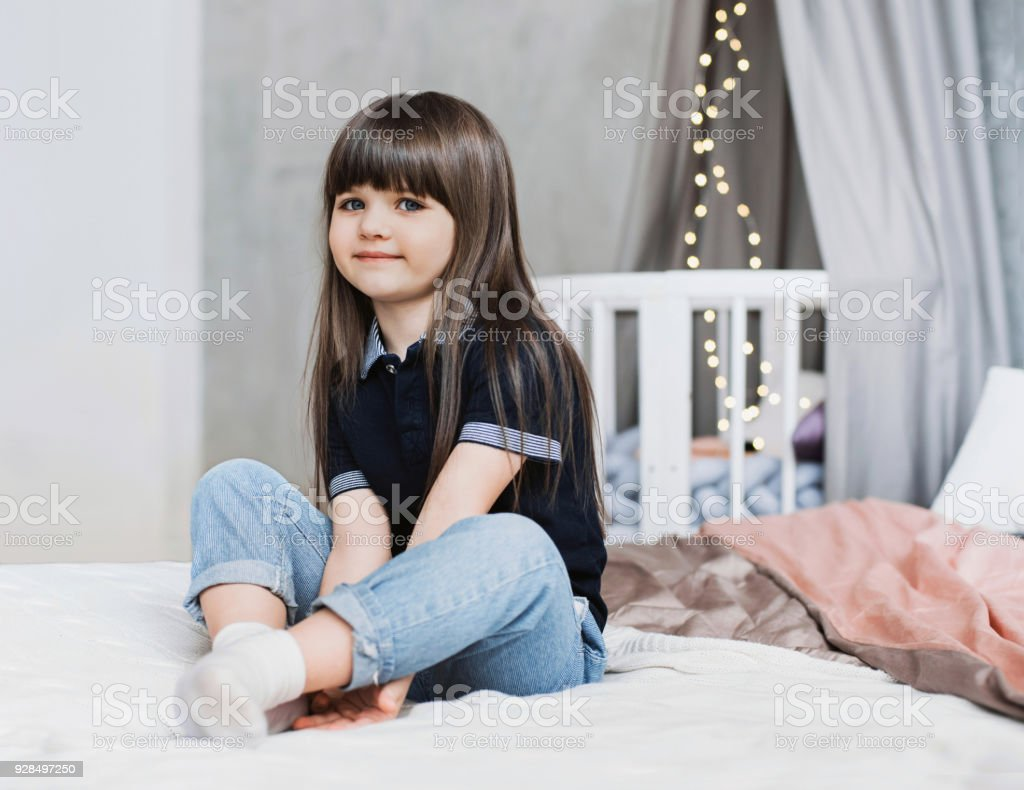 Smiling beautiful little girl portrait stock photo