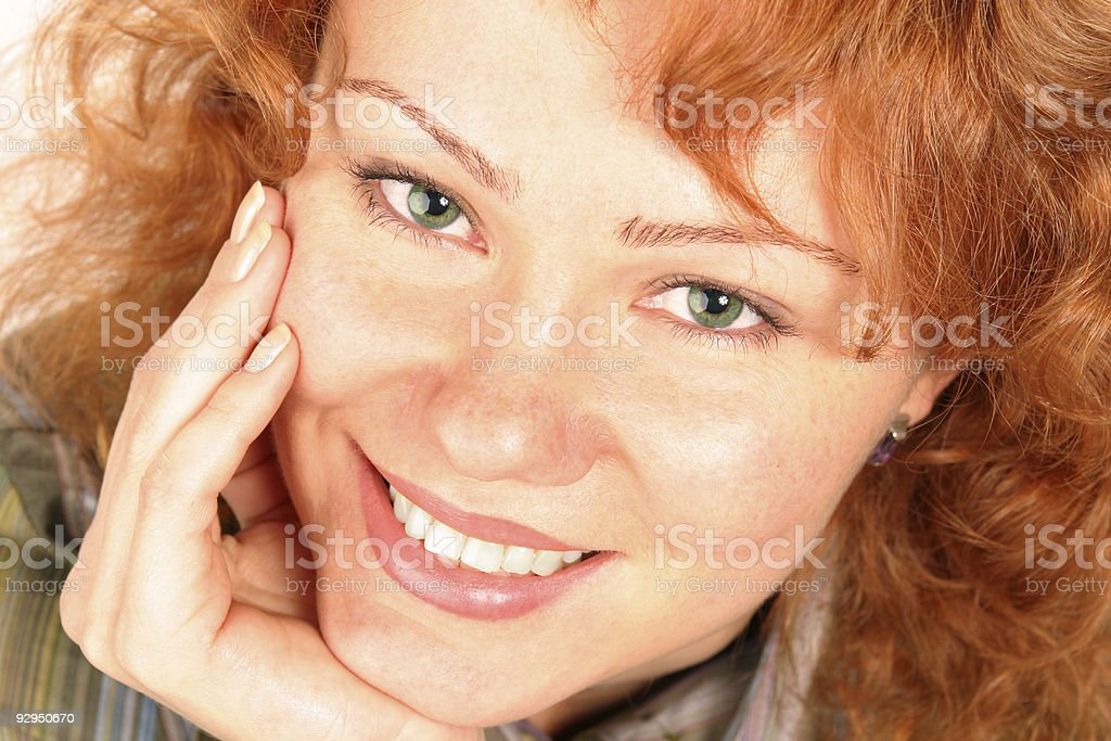 smiling beautiful woman closeup portrait royalty-free stock photo