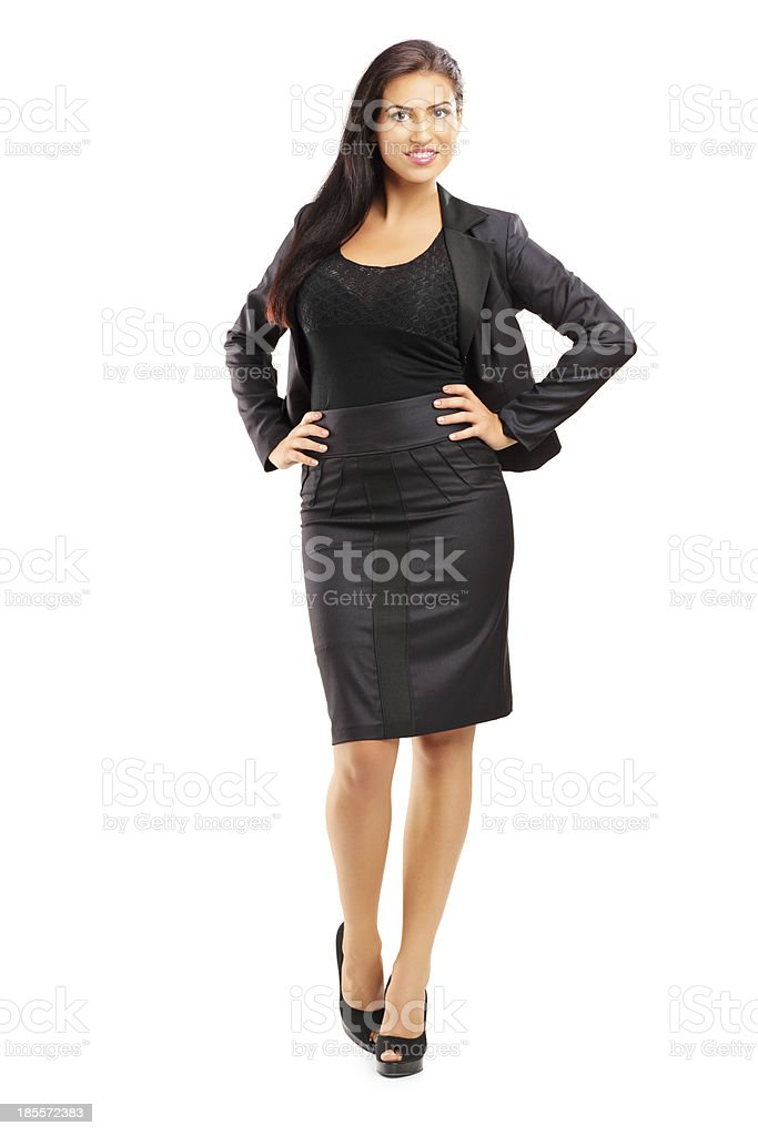 Smiling beautiful woman in suit posing royalty-free stock photo