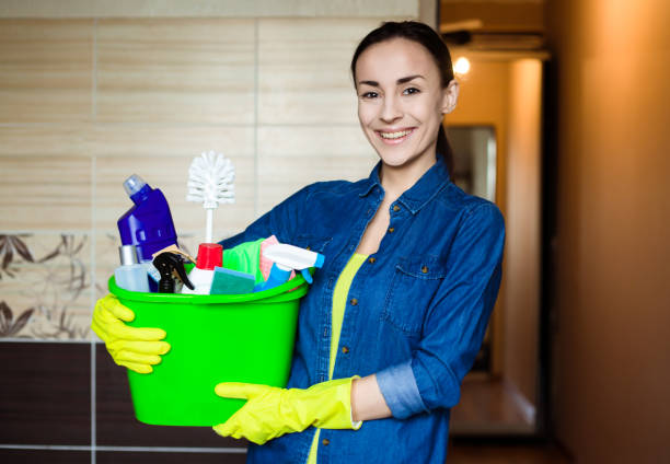 smiling beautiful woman with the equipment and supplies for cleaning at house in hands - maid stock pictures, royalty-free photos & images