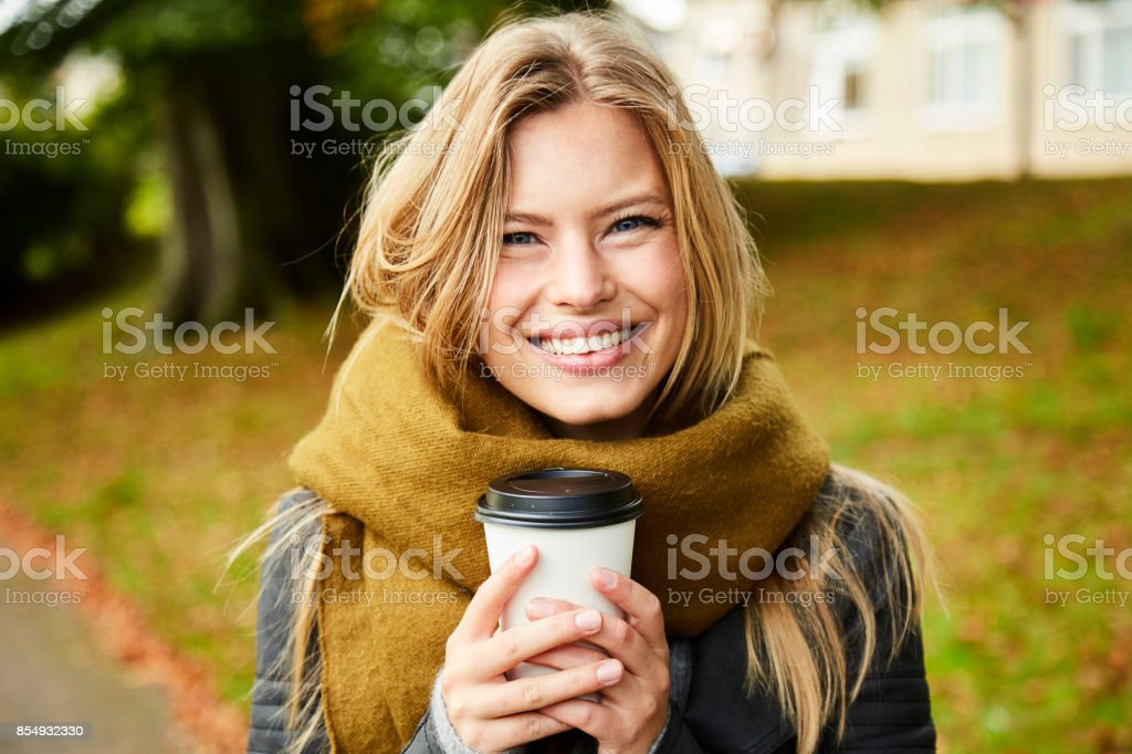 Smiling beauty over coffee stock photo