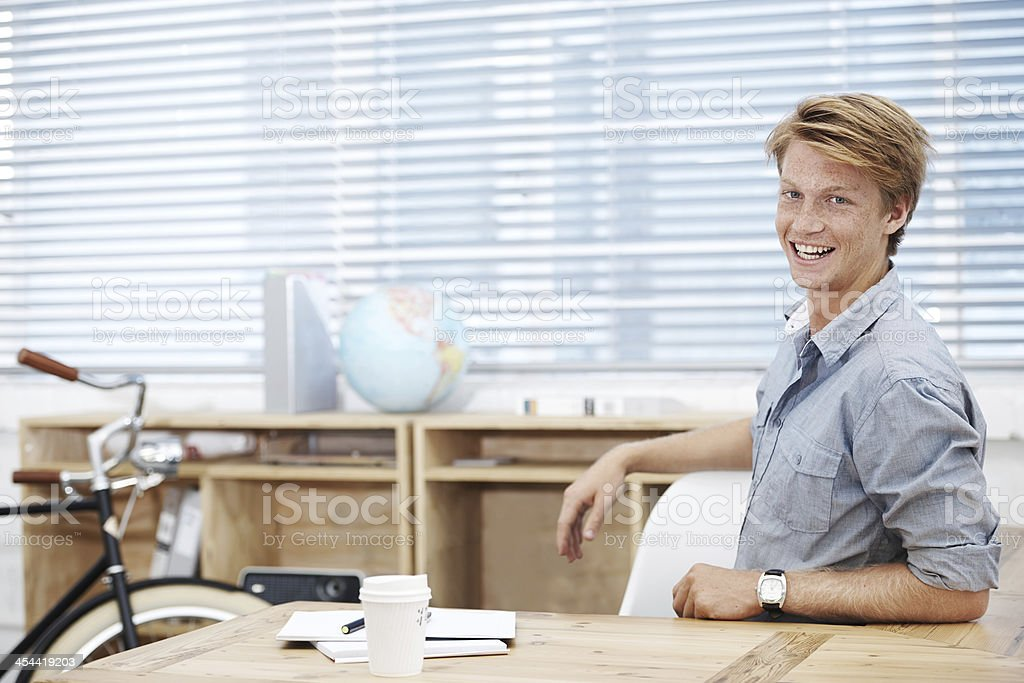 Smiling because he got the internship royalty-free stock photo