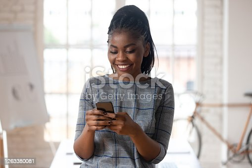 1031394114 istock photo Smiling biracial female employee using modern cellphone 1263380081