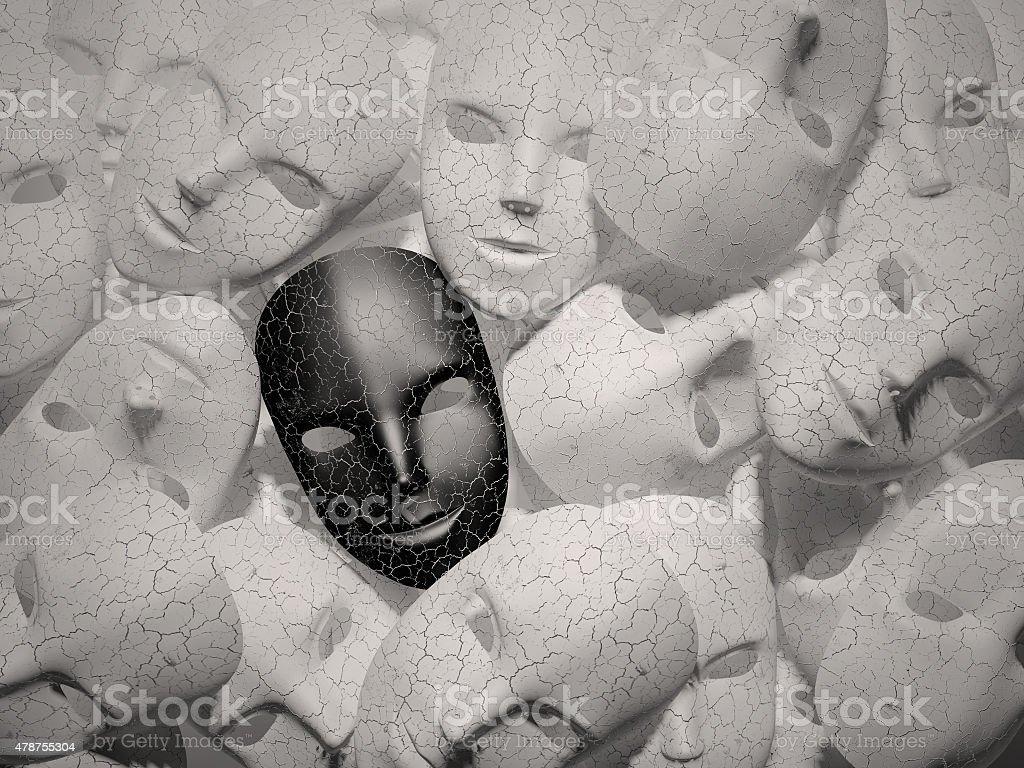 Smiling black mask among white masks stock photo
