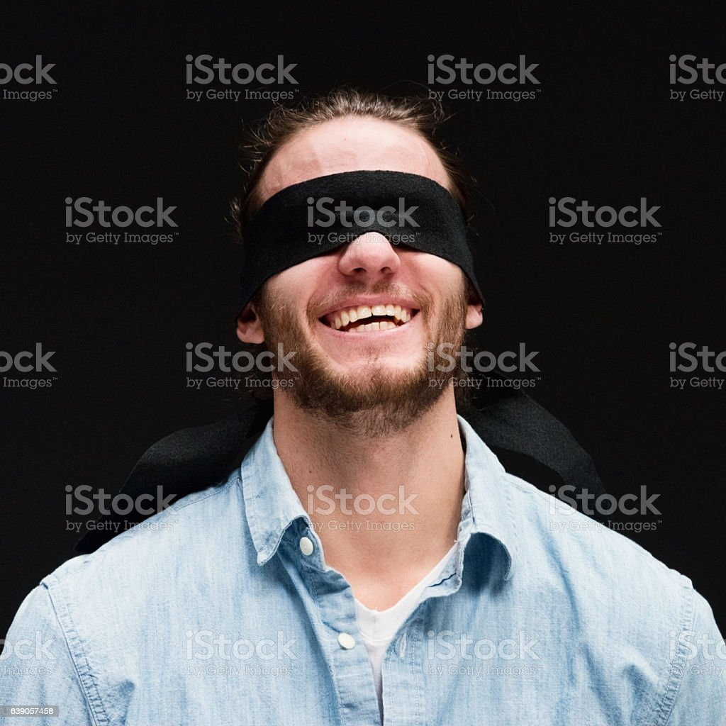 Smiling blindness man giving a pose stock photo