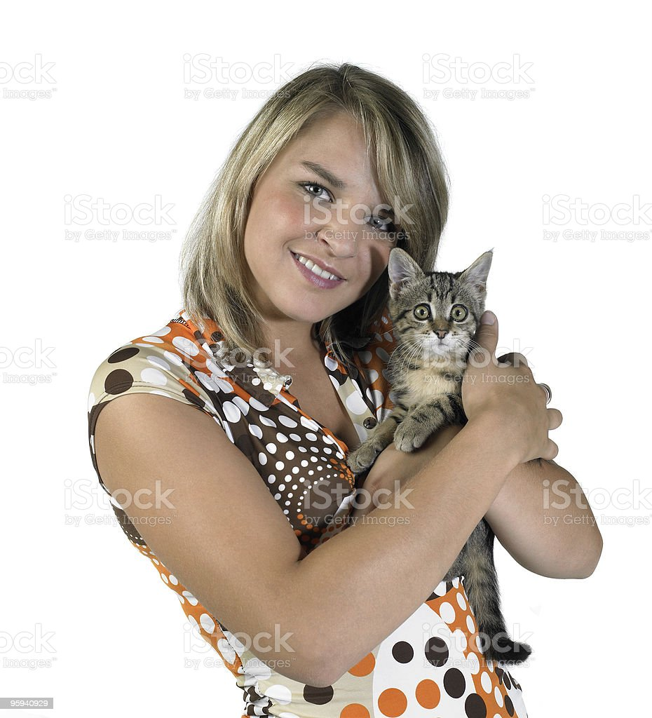 smiling blond girl and holding a cat royalty-free stock photo