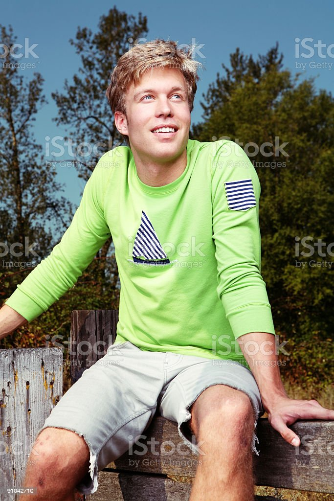Smiling Blonde Guy Outdoors Portrait royalty-free stock photo