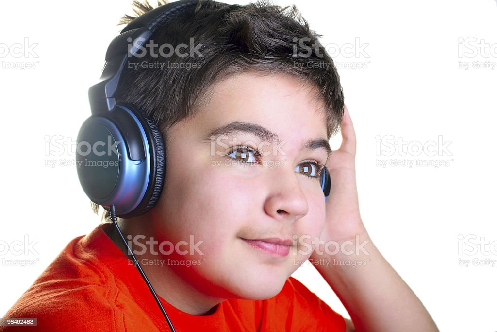 Smiling boy in headphones royalty-free stock photo