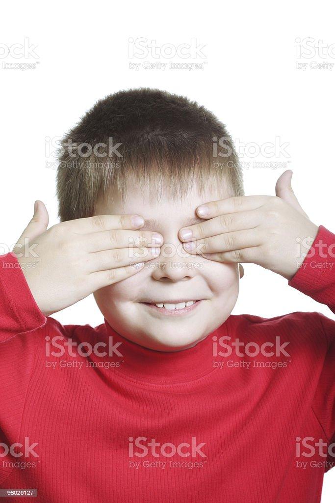 미소 남자아이 빨간색 종료 아이즈 royalty-free 스톡 사진
