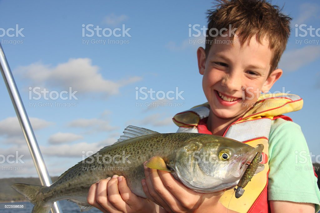 Smiling boy with a big fish stock photo
