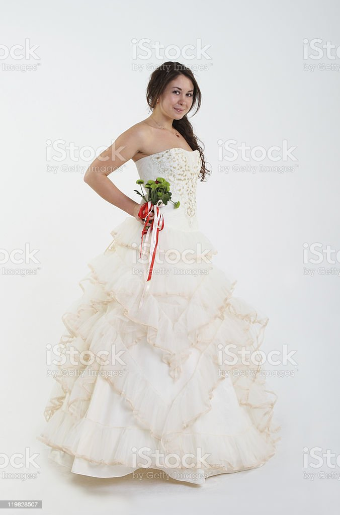 Smiling bride with bouquet royalty-free stock photo