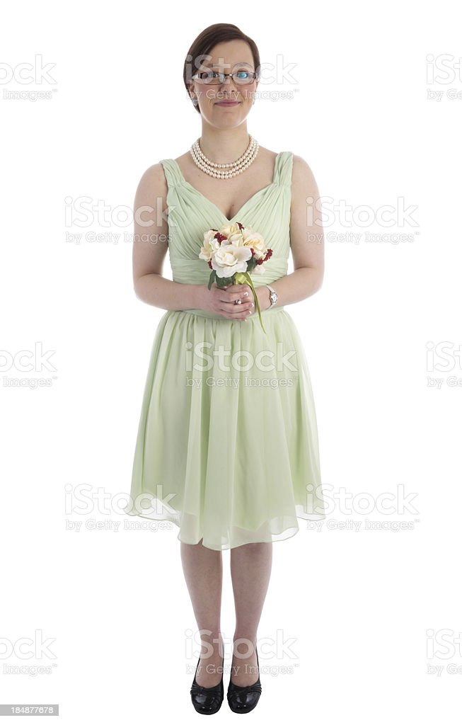 Smiling bridesmaid on white. royalty-free stock photo